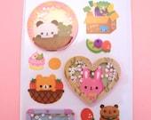 KAWAII 3D Bead Panda Bunny Burger Bear Sticker Sheet