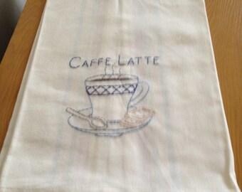Hand Embroidered Flour Sack Tea Towel - Caffe Latte Coffee on multi stripe