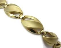Gold Trifari Bracelet - Gold Tone Matte Finish Flourish Costume Jewelry