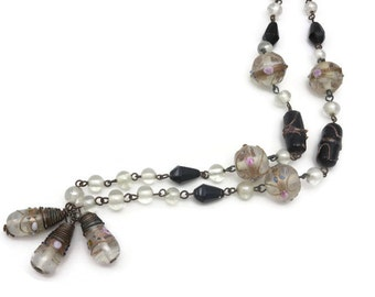Black and White Wedding Cake Bead Necklace - Art Glass, Long Necklace, Beaded Necklace, Venetian