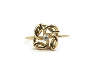 Diamond Ring - Art Deco Ring, 10k Gold, Love Knot Ring, Art Deco Jewelry, Stick Pin Conversion, 1920s, Fine Estate Jewelry