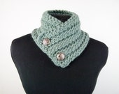 Hand Knit Neck-warmer with Buttons in Khaki Blue - Item 1369