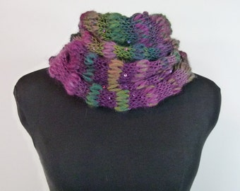 """Hand Knit Cowl """"Vineyard Celebration"""" - Fluffy and Soft Acrylic Wool Blend with Sequins - Item 1431"""