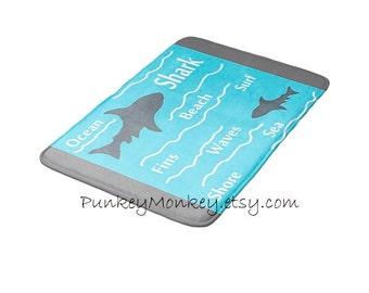 Shark bath mat sharks memory foam beach bathroom mat for floor 3 sizes to choose from made to order