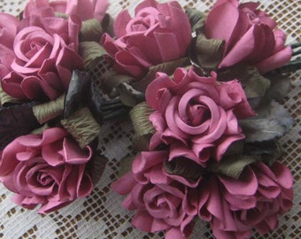 Paper Flowers 10 Millinery Country Roses In Dusty Rose