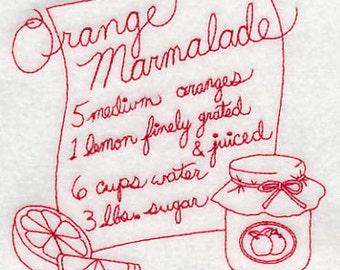 Embroidered Redwork Flour Sack Orange Marmalade Recipe Kitchen Towel
