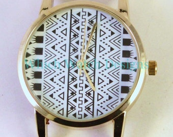 Tribal Round.. Aztec Tribal Print Round Watch Face, Gold Plated, Ribbon Solid Bar Watch Face, Interchangeable