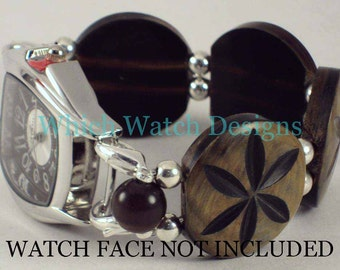 Flower Coin.. Carved Brown Horn Coins Interchangeable Beaded Watch Band