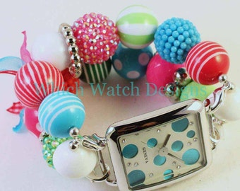 Christmas Candy.. Super Chunky Red, Green, Hot Pink, and Turquoise Interchangeable Beaded Watch Band