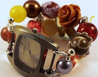 Shabby Chic Fall Floral...Chunky Brown, Red, Yellow and Salmon Interchangeable Beaded Watch Band