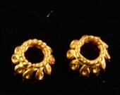 2.5mmx4mm 18k Solid Yellow Gold Petite Bead Cap Finding PAIR