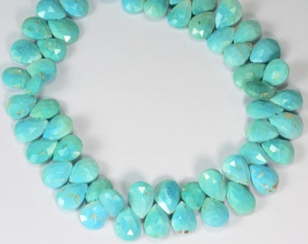 "Sleeping Beauty Turquoise Faceted Pear Briolette Beads 9.5"" Strand"