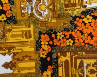 Orange Gold and Black on Cream Upholstery Yardage Fabric