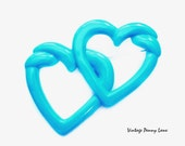 Lucite Heart Brooch, Vintage Turquoise Blue Pin
