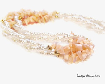 Coral Bead Necklace, Glass Faux Pearls