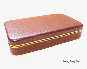 Brown Leatherette Case, Vintage Jewelry Box