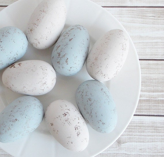 Set of 8 Shabby Rustic Chic Robins Egg Blue and Cream Wood Easter Eggs