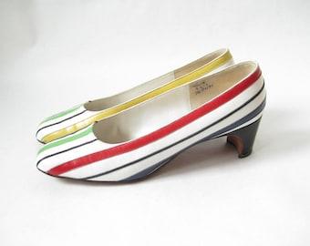 Vintage 60s Super MOD Striped Heels. Size  7 1/2