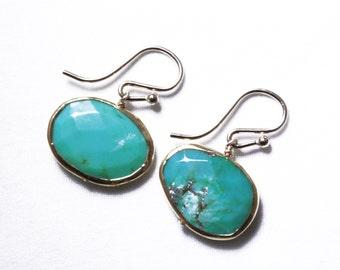 Real Turquoise Earrings Bezel Earrings Genuine Turquoise Jewelry December Birthstone One of a Kind Earrings BZ-E-145-Turq/g