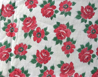 Vintage 1930's Feed Sack Cotton Fabric, Red Roses on White Background, Red and White, Vintage Fabric, Vintage Feed Sack Textiles