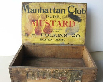 Antique 1900 Vintage Manhattan Club Pure Mustard Store Counter Top Advertising Display Lift Top Wood Box, Paper Label in Yellow, Red, Blue