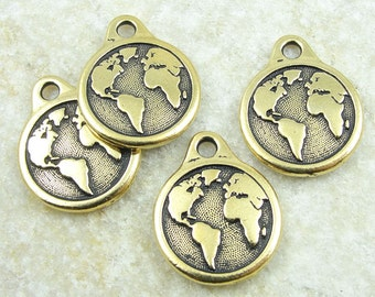 TierraCast EARTH Charm - Antique Gold Charm - World Charm Planet Earth with Continents for Earth Day (P1251)