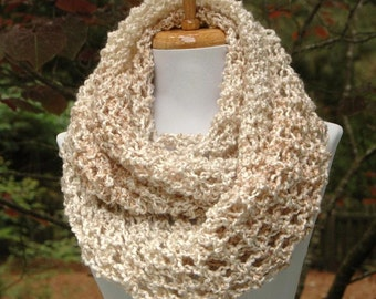 Chunky Knit Scarf, Knit Scarf, Neutral Cream Tan Scarf, Infinity Scarf, Circle Scarf, Women Scarves, Winter Scarf, Knitted Vegan Neck warmer