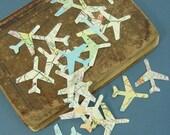 Map Airplane Confetti  Travel Theme  Wedding Favor Vintage Atlas Upcycled Decor 100 Pieces