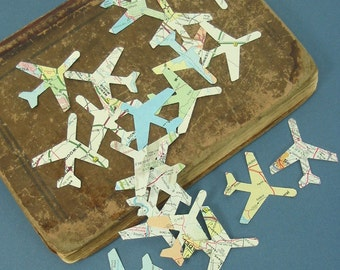 Map Airplane Confetti  Travel Theme  Wedding Favor Vintage Atlas Upcycled Decor 100 Pieces