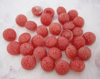 31 pcs. vintage glass coral pink fabric weave glass shank buttons 14mm - b211