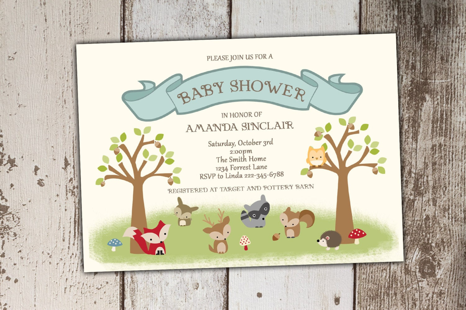 woodland baby shower invitation woodland animal by its4keeps