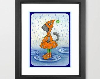 My Kitty Loves Rain Boots  Print from my original illustration 8x10 by Tanya Besedina