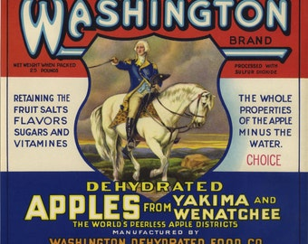 Washington Apple Fruit Crate Label George Washington