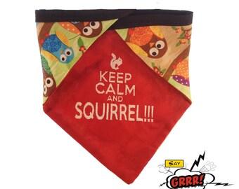 Keep Calm and SQUIRREL - reversible pet bandana