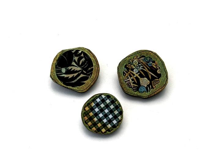 Spring Brooch Set, Wood Accessory, Illustration Jewelry, Set of Three, Wood Jewelry
