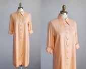 1970s peachy pink SILK deadstock mid length shirt dress nwt / s