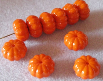 Orange Solid Matte Acrylic Lucite Ribbed Pumpkin Beads 15mm x 9mm 815