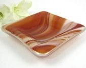 Small Swirled Orange Glass Ring Dish, Mini Glass Dish, Glass Pinch Dish