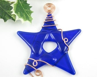 Blue Glass Star Christmas Ornament -  Cobalt Blue Fused Glass