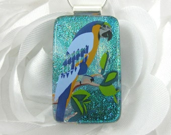 Parrot Pendant - Fused Glass Bird Pendant - Dichroic Glass Jewelry