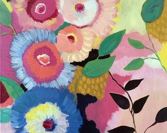 Circus Garden, Wall Art, Colorful Floral Art Print