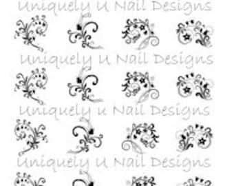 Floral Flourish Nail Decals
