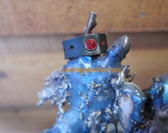 Red and Black Leather Ring with Red Crystal