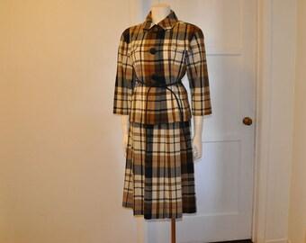 50s suit /  Vintage 1950's Nova Check Jacket Skirt Suit Set