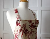 French General Linen Apron Rouenneries Red Birds