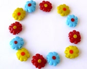 Glass Flower Beads Yellow Flowers Aqua Beads Red Flower Beads Destash Beading Supplies Jewelry Supply