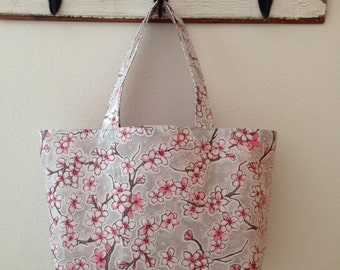 Beth's Large Gray Apple Blossom Oilcloth Market Tote Bag