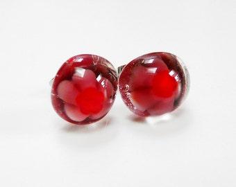 Red Mauve Earrings Post Earstuds Studs Red Purple Glass Fused Earrings