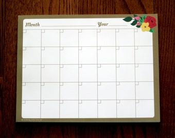 Pretty Flora Monthly Calendar Notepad: Handdrawn flowers, gold, desk pad, month