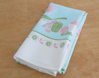 1960s Kitchen Theme  Tablecloth • Mid Century Vintage • Aqua Pink Green